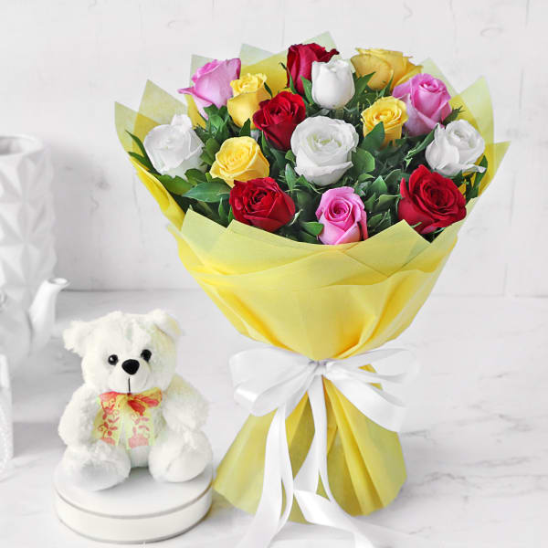 Assorted Roses Bouquet with Teddy Bear