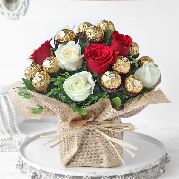 Assorted Roses & Ferrero Rocher Chocolates in Vase