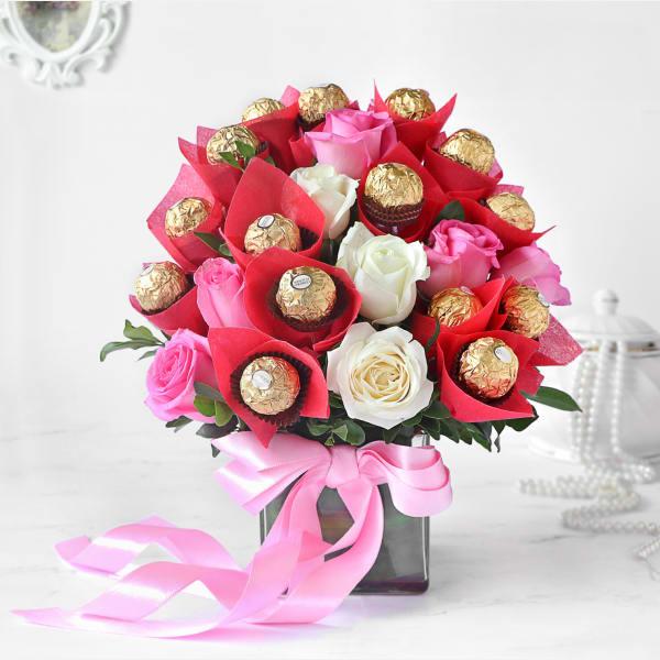 Assorted Roses & Ferrero Rocher in Vase Arrangement