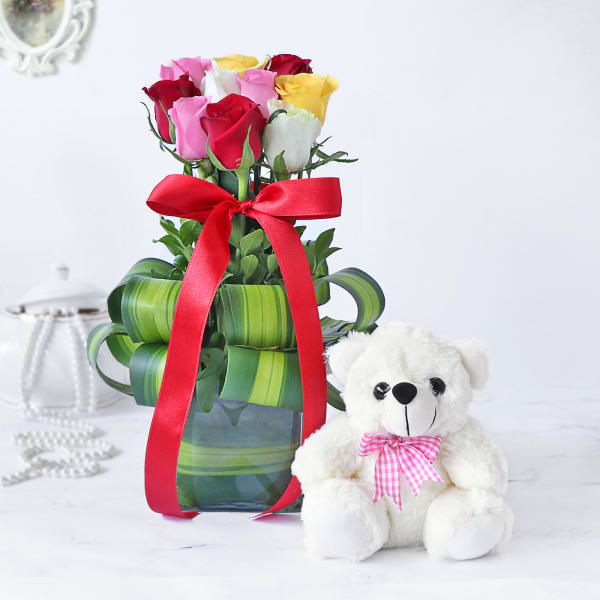 Assorted Roses in a Vase with Teddy Bear