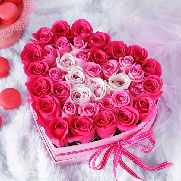 Assorted Roses in Heart Shaped Gift Box (40 Stems)