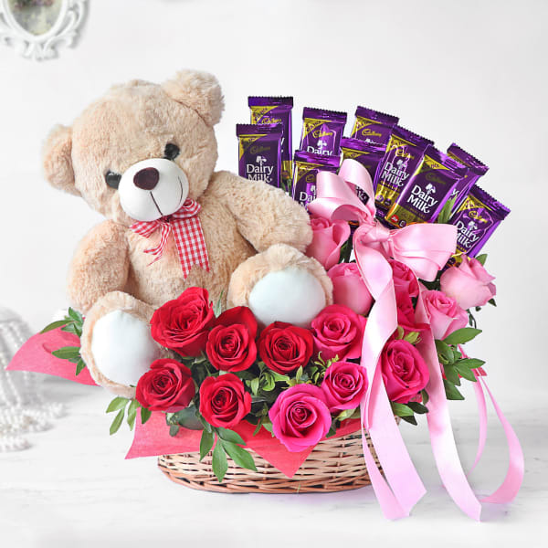 Assorted Roses with Dairy Milk & Teddy in Basket