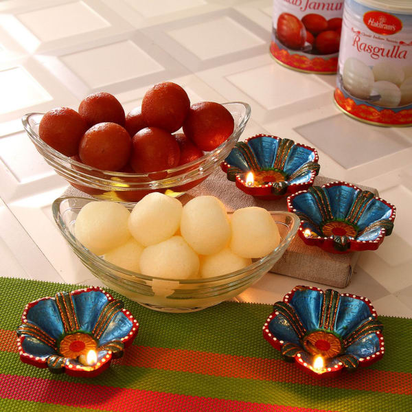 Assorted Sweets With Earthen Diyas