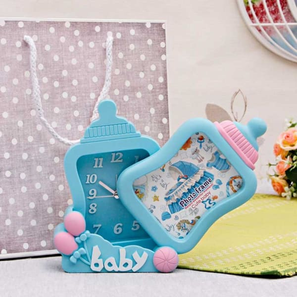 Amazing Baby Bottle Shaped Table Clock Cum Photo Frame In A Gift Bag Home Interior And Landscaping Spoatsignezvosmurscom