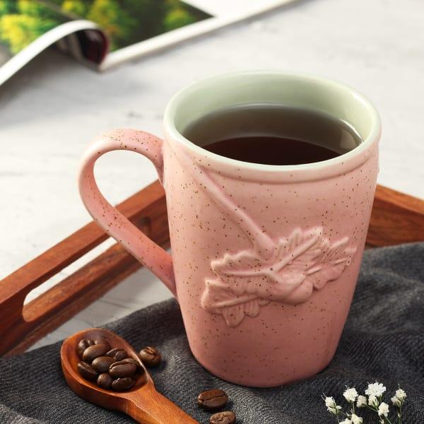 Baby Pink Embossed Leaf Design Mug
