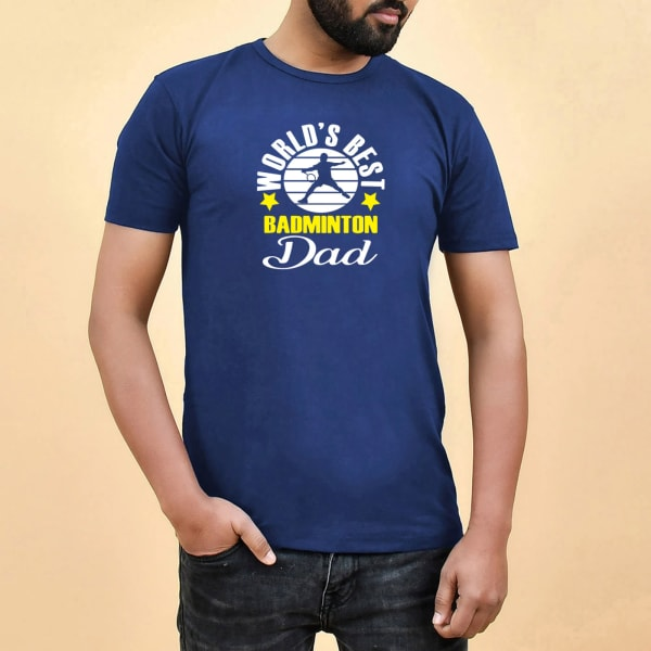 Badminton Dad Navy Blue Cotton T-Shirt