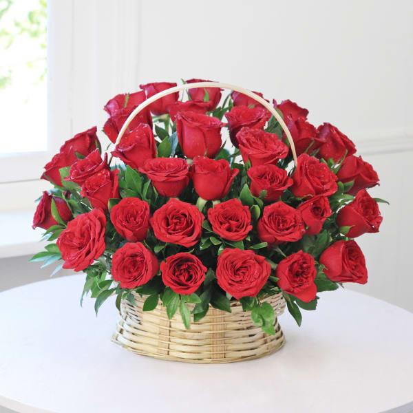 Basket  Arrangement of 35 Red Roses