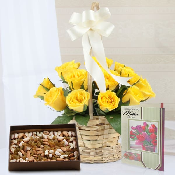 Basket of 15 Yellow Roses with Assorted Dryfruits & Greeting Card