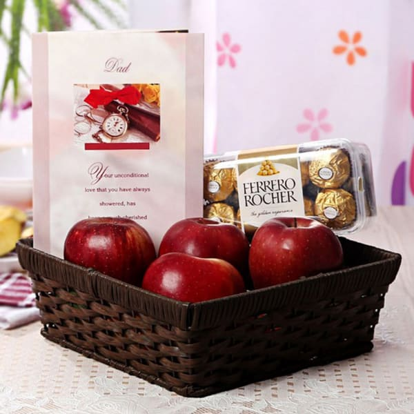 Basket of Apples with 16 Pcs Ferrero Rocher & Greeting Card