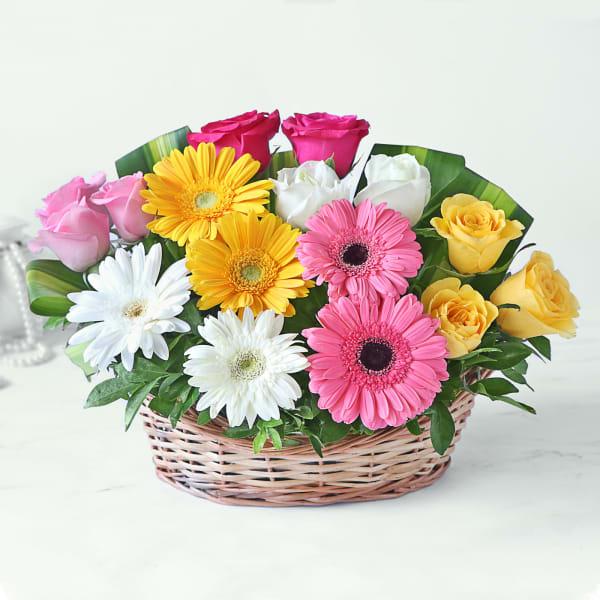 Basket of Assorted Roses & Gerberas