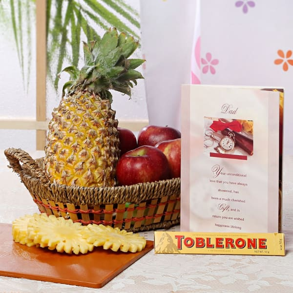 Basket of Mixed Fruit with Tobelrone Chocolate & Greeting Card