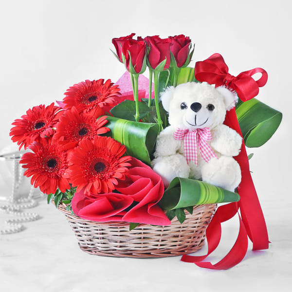 Basket of Red Roses & Gerberas with Teddy