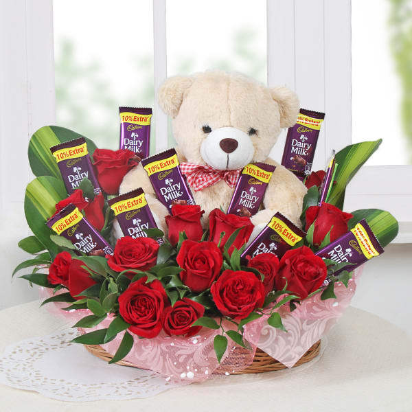 Basket of Roses with Chocolate & Teddy