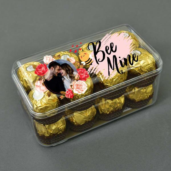 Be Mine Personalized Photo Box of 16 Pc. Ferrero Rocher