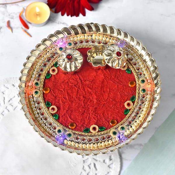 Beads Decorated LED Puja Thali