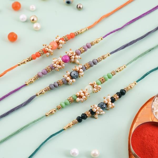 Beads Pearls And CZ Rakhi (Set of 5)
