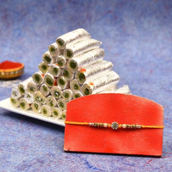 Beads Rakhi with Kaju Pista Roll