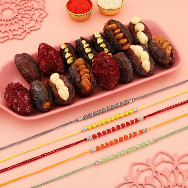 Beads Rakhis With Gourmet Stuffed Dates