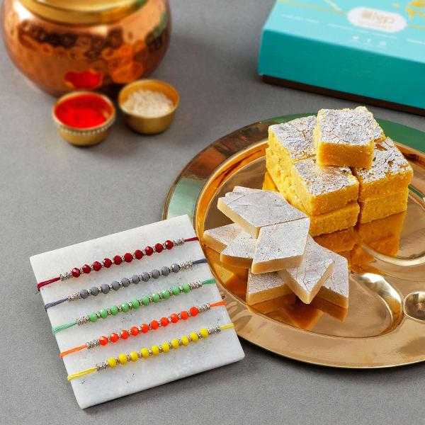 Beads Rakhis With Premium Sweets