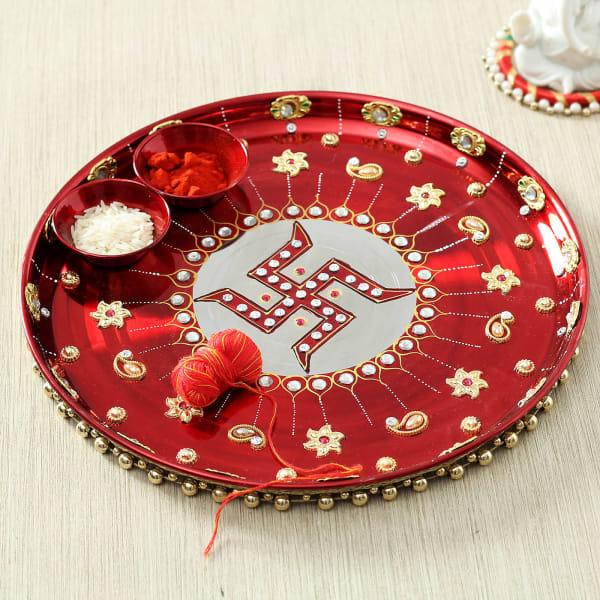 Beads Work Puja Thali