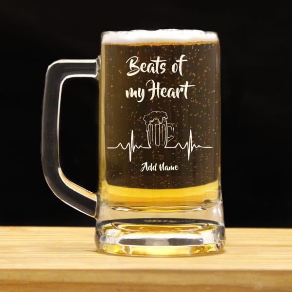 Beats of My Heart Personalized Beer Mug