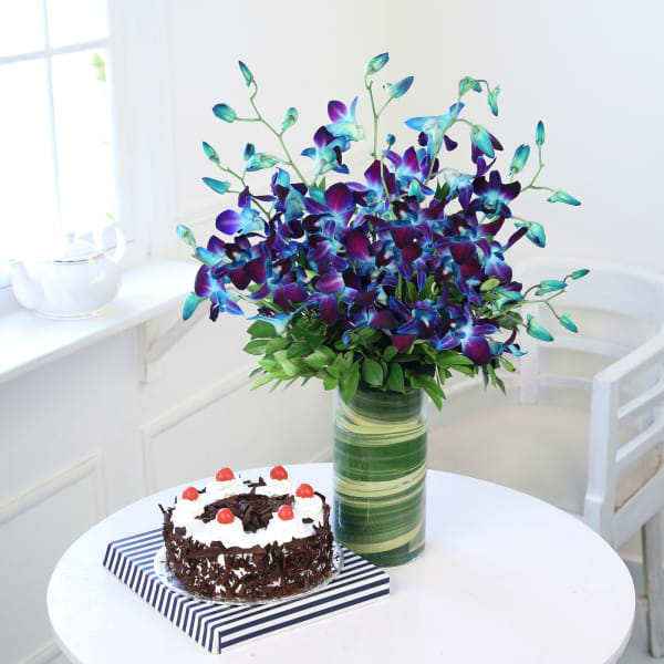 Beautiful 10 Blue Orchids in a Vase with Black Forest Cake (Half Kg)