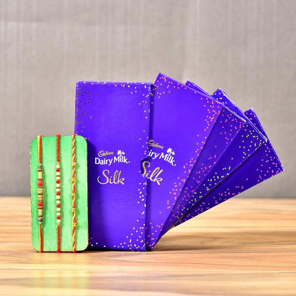 Beautiful Beaded Rakhi Set With Dairy Milk Silk Special Chocolate