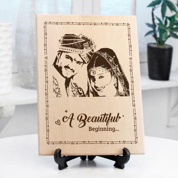 Beautiful Beginning Personalized Wooden Photo Frame