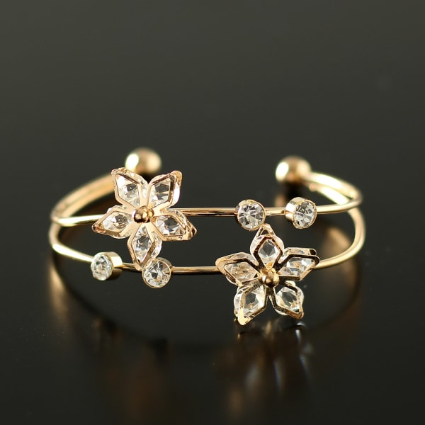 Beautiful Gold Plated Crystal Clear Bracelet