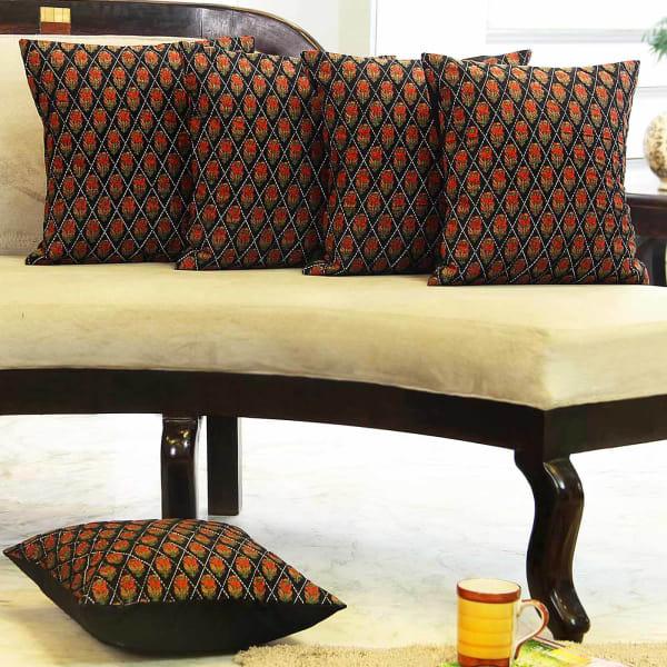 Kalamkari Print Set Of 5 Cushion Covers