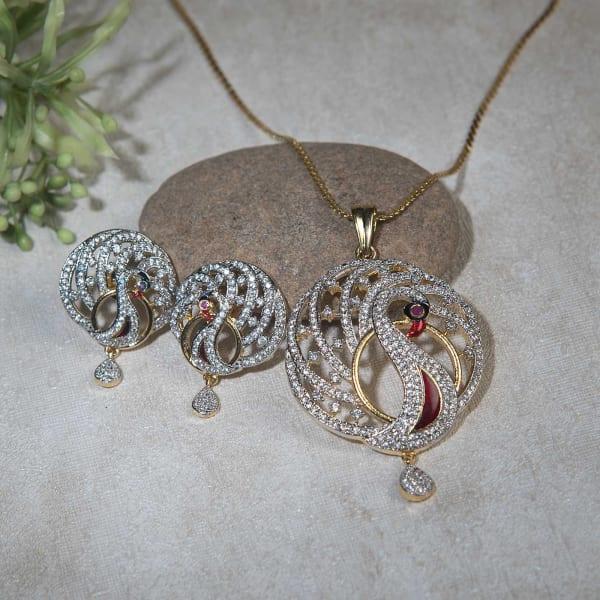 Beautiful Peacock Design Pendant Set with Studded CZ Stones