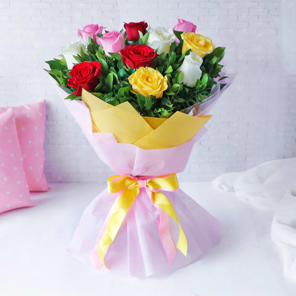 Beautiful Pink Yellow Red & White Roses Arrangement