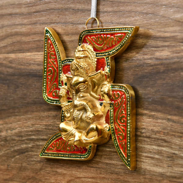 Beautiful White Metal Swastik With Ganesha Gift Send Home