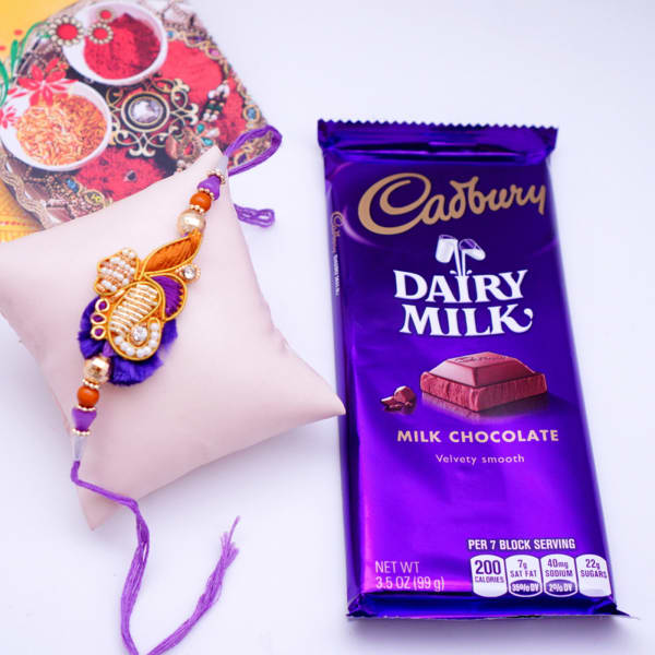 Beautiful Zardozi Work Rakhi With Cadbury Dairy Milk Gift Send