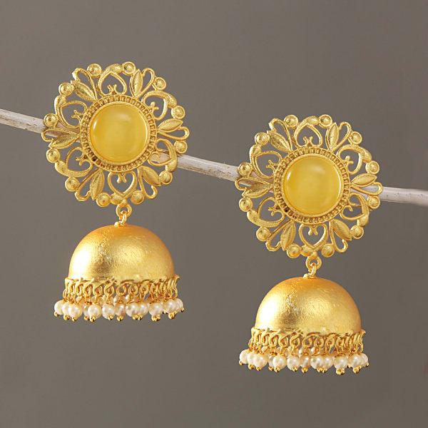 Beautifully Carved Semi Precious Stone Studded Earrings