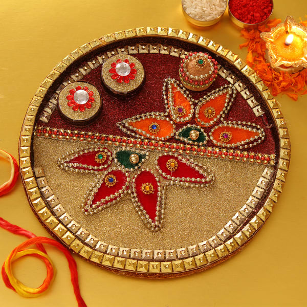 Beautifully Decorated Bhai Dooj Tikka Thali