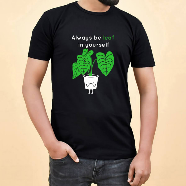 Beleaf In Yourself Black Cotton T-Shirt