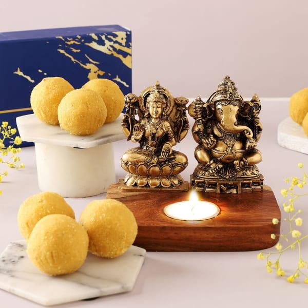 Besan Ladoo With Lakshmi Ganesha T-Light Holder