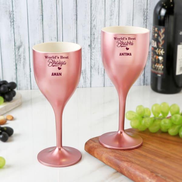 Best Bhaiya Bhabhi Personalized Unbreakable Wine Glasses Set