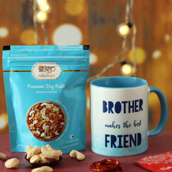 Best Friend Brother Mug with Dry Fruits Hamper