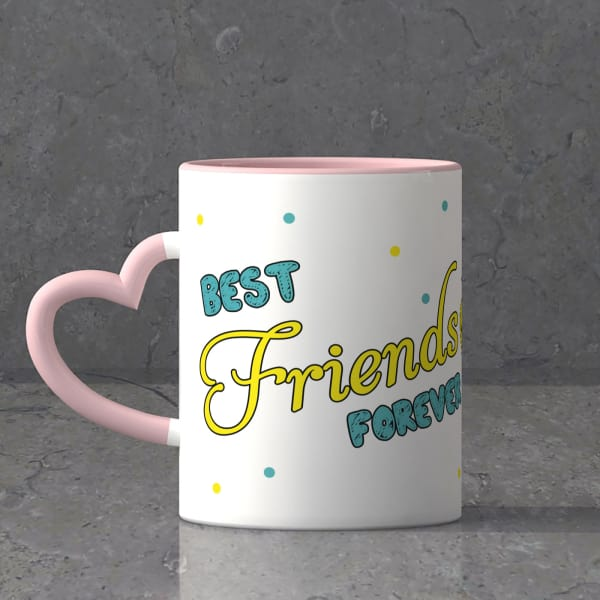 Best Friends Forever Heart Shaped Handle Mug