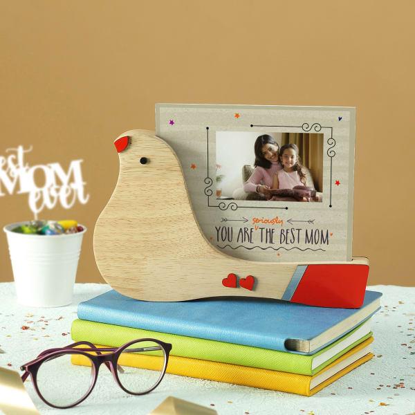 Best Mom Personalized Bird Shaped Photo Frame