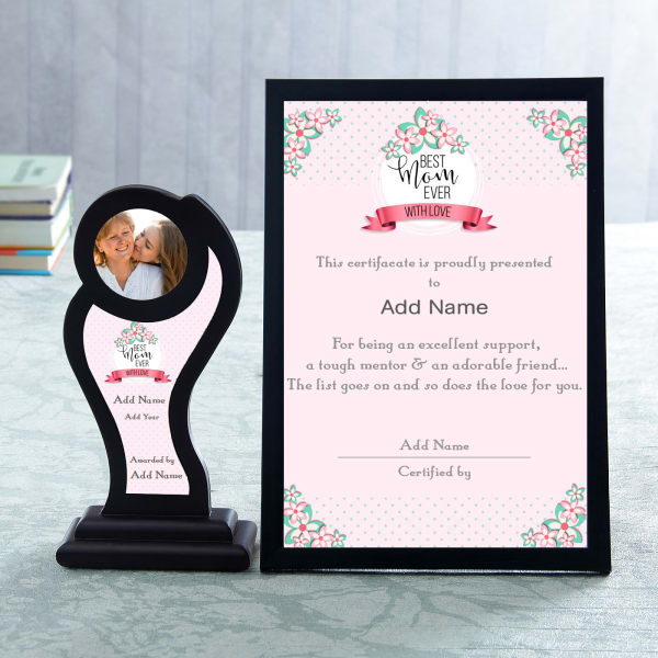 Best Mom Personalized Certificate Trophy Set