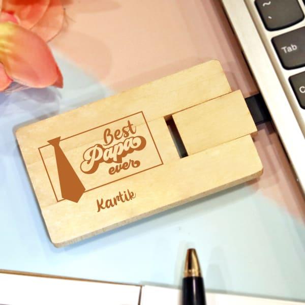 Best Papa Personalised Wooden Pen Drive