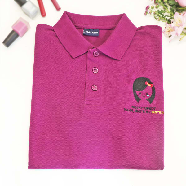 Best Sister Polo T-Shirt For Women - Magenta