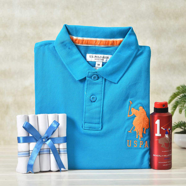 Beverly Hill Deo With US Polo T-shirt & Handkerchief Set in a Gift Box