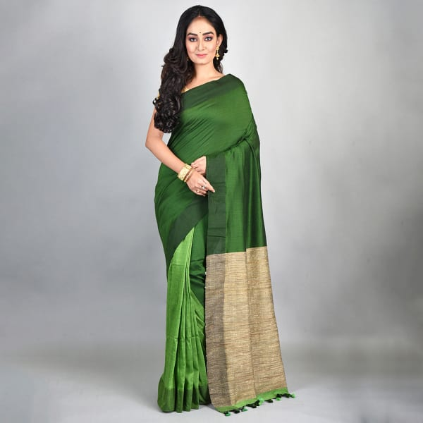 Bhagalpuri Handloom Linen Saree - Green