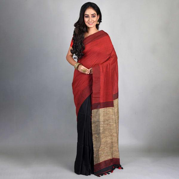 Bhagalpuri Handloom Linen Saree - Maroon
