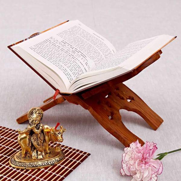 Bhagavad Gita With Wooden Book Rest And Oxidized Metal