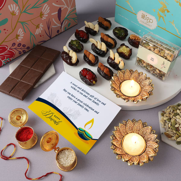 Bhai Dooj Gift Box With Stuffed Dates And Chocolates